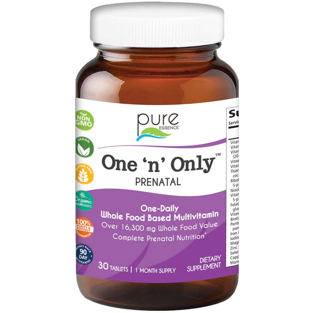 Pure Essence Labs One n Only Prenatal Vitamins – One a Day Multivitamin Support with Iron, Natural Herbs, Superfoods and Folate – 30 Tablet