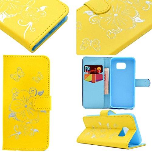 For Samsung Galaxy S7 Edge, Ouneed ® Cubierta de la caja del teléfono de la moda caja de la carpeta del cuero del teléfono para la galaxia S7 Edge (Oro) Amarillo