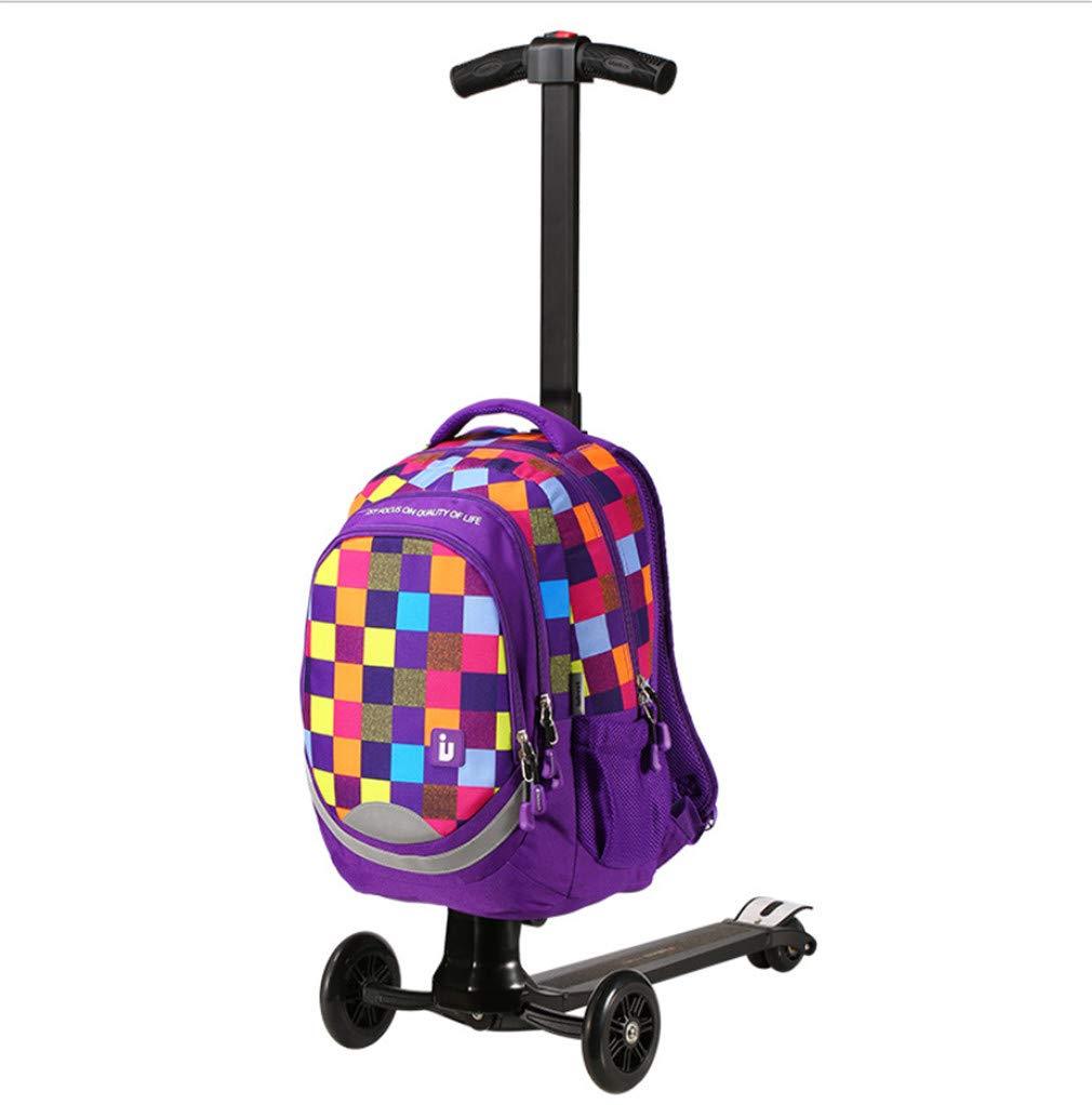 スクーター荷物、シンプルな防水キャンバスクリエイティブスクータースーツケースポータブル折り多機能ユニバーサルホイールプルロッドトランク B07RVLT781 Purple