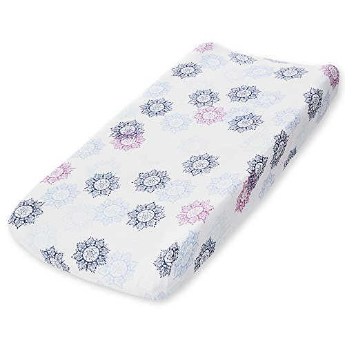 Aden by Aden + Anais Classic Changing Pad Cover, 100% Cotton Muslin, Super Soft, Breathable, Tailored Snug Fit, Single, Pretty Pink Medallion