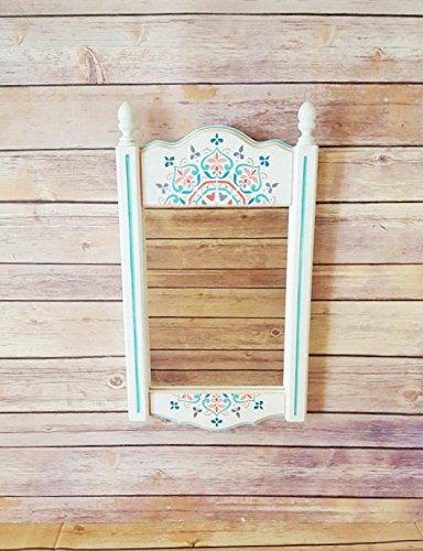 Coral Rectangular Mirror - Wall Mirror | Wood Framed Mirror | White Framed Mirror | Mandala Print Home Decor | Bohemian Bedroom | Mint and Coral Decor | Girls Bedroom