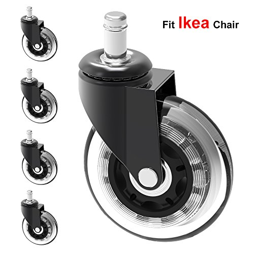 MySit 5 Replacement Casters for IKEA Office Chairs, 3' Heavy Duty Large Rubber Caster Wheels for Hardwood Floors Better than Office Chair Mat, Silent Smooth Rolling with 10 mm Stem (Caster_3in_Ikea)