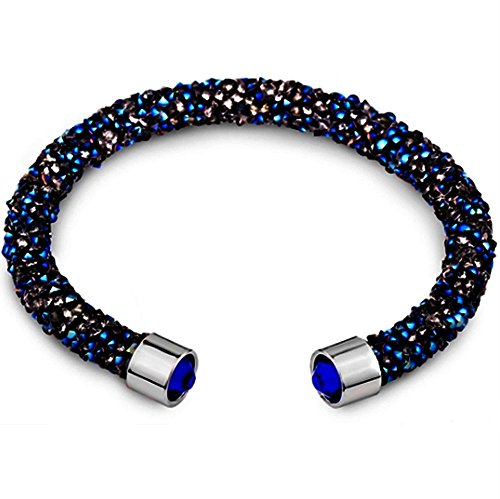 (Silver and Post Women's Blue Cuff Bracelet Design with Crystals from Swarovski Bamboo Gift Box Included)