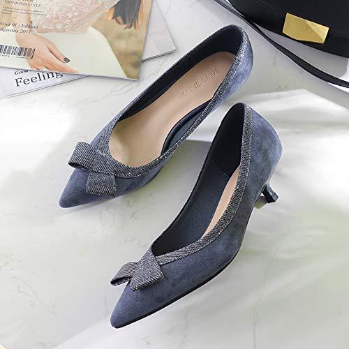 Blue Las Arco Mujeres De Acentuados Yukun del con Dark Tacón tacón del Alto Mujeres Mujeres alto Buen Otoño Estilete Zapatos del de De zapatos Salvaje Solos qwzWnUwP4