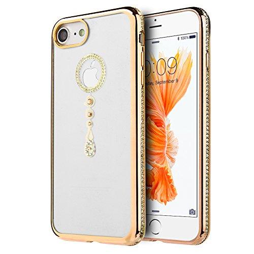 p2s88 APPLE IPHONE 7 TRANSPARENT TPU WITH CHROME FRAME CRYSTAL SKIN CASE - GOLD TEAR (Gold Teardrop Frame)