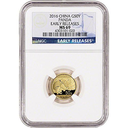 2016 CN China Gold Panda (3 g) Early Releases 50 Yuan MS69 NGC