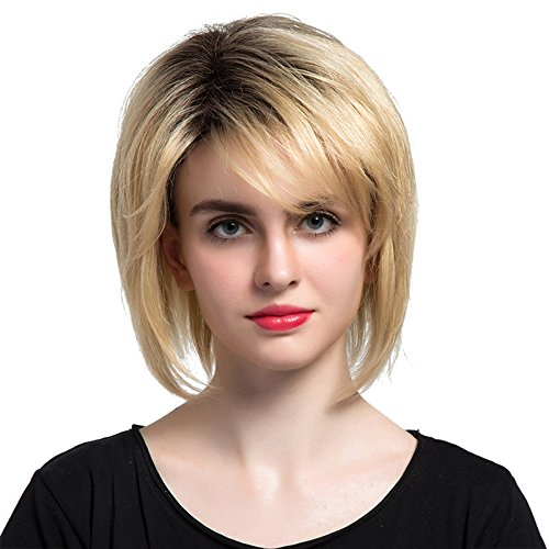 Short Bob Style Brazilian Human Hair Natural Straight Ombre Blonde for Women Side Bangs Capless Wigs for Daily& Wedding Wear(Blonde1)