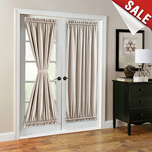 Design French Linen (French Door Curtains Linen Look Blackout Curtains 72 inch Long One Pair Beige)