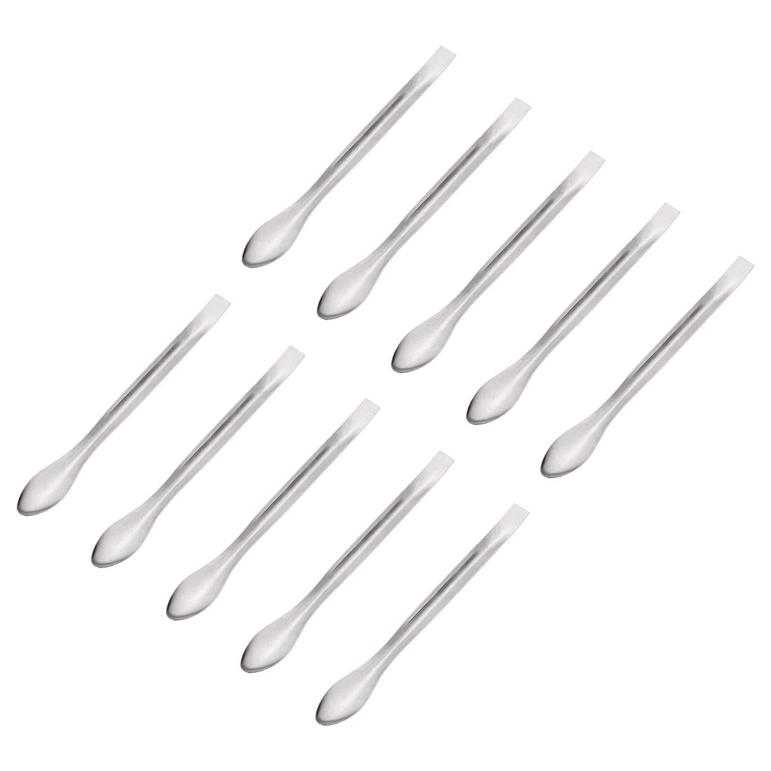 uxcell Silver Tone Micro Scoop 140mm Stainless Steel Reagent Sampling Spoon Lab Spatulas for Laboratory 10Pcs