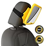 WHY SAFETY YELLOW? CLICK TO SEE! THE #1 safest baby car mirror for rear facing baby seat , 100% shatterproof , PREMIUM SAFETY BONUS Baby on Board sign BONUS