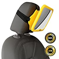 WHY SAFETY YELLOW? CLICK TO SEE! THE #1 safest baby car mirror for rear facin...