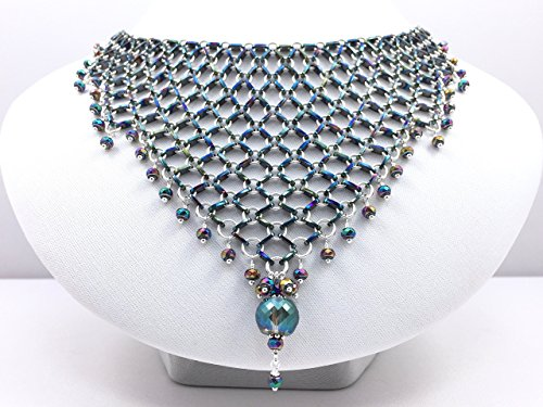 Sterling Silver and Anodised Steel Chain Maille Beaded Bib Necklace with Crystals