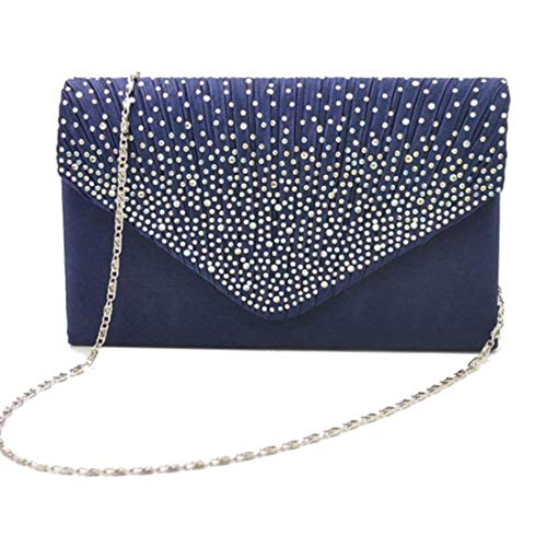 Sac Purse Clutch Femmes Main À Nuptiale Satin Strass color Party Prom Enveloppe Blue Givré Darkblue Soirée BBPwI
