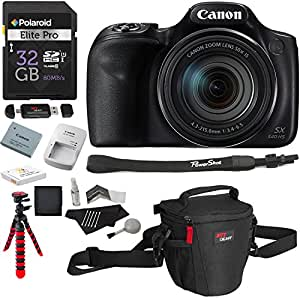 Canon PowerShot SX540 HS with 50x Optical Zoom and Built-In Wi-Fi, Polaroid 32 GB Memory Card, Tripod, Spare Battery, Camera Bag and Accessory Bundle