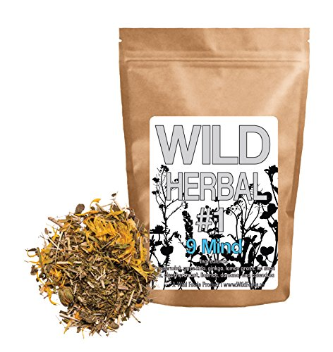 Wild Herbal #1 9 Mind Tea Blend by Wild Foods - 9 Ingredient Tea with Peppermint, Ginkgo, Lemon grass, and more, 100% Natural (4 ounce) Wild Mint Tea