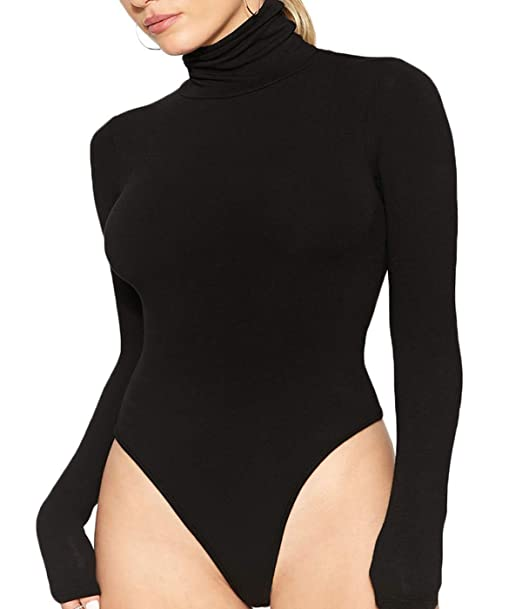 6dd316d1a8 Women Long Sleeve Bodysuit Turtleneck Body Suit High Turtle Neck One Piece  Longsleeve Tight Romper Leotard Tops Sexy Black at Amazon Women s Clothing  store