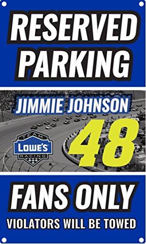 Sign Nascar Parking (NASCAR Reserved Parking for #48 Jimmie Johnson Fans Only Sign-NASCAR Metal Parking Sign)