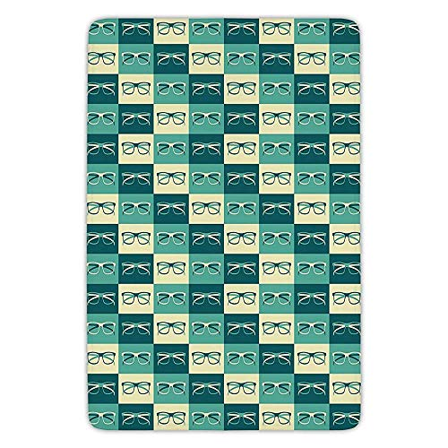 Bathroom Bath Rug Kitchen Floor Mat Carpet,Indie,Pattern with Eyeglasses in Vintage Style Hipster Cool Collection Decorative,Petrol Blue Turquoise Cream,Flannel Microfiber Non-slip Soft Absorbent