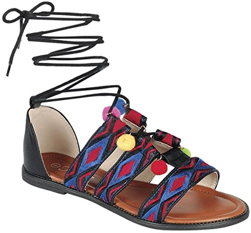 Bamboo Sandal colorful Embellished Womens Lollipop Pom Bohemia Ankle Forever Jean Flip Wrap Smartty Swirl Flop Blue DEV Pom Shoes Flat dFawd6