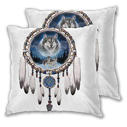 Diemeouk Throw Square Pillows Set of 2,Cushion Wolf Cover,Soft Decorative Case for Sofa Bedroom Indoor Outdoor]()