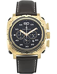 981SG032 IP Gold stainless steel, quartz chronograph, with black leather strap
