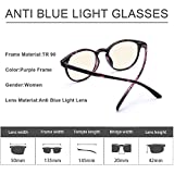 Anti Blue Light Computer/Reading/Gaming Glasses, 0.0 Magnification, Filter Artificial Light, Anti Glare, Relieve Eyestrain and Protect Your Eyes, Blue Light Blocking for Women (Purple)