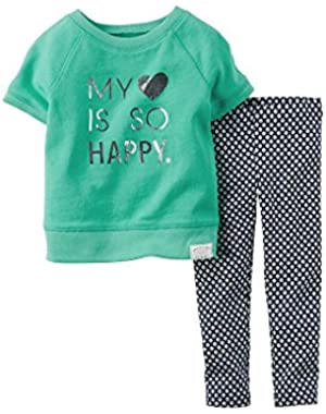 Baby Girls 2-piece Top & Legging Set (6M, Mint)