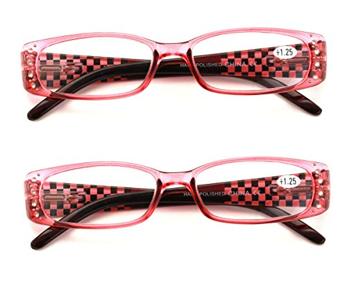 2 Pairs Women Fashion Rhinestone Rectangle Reading Glasses With Checkered Temple (Pink, (Pink Rhinestone Reading Glasses)