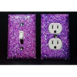 SET OF LUMINOUS PURPLE Glitter Switch Plate Outlet Covers ALL Styles Available!