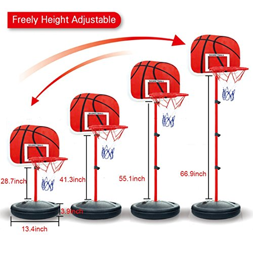 Portable Basketball Backboards, Peleustech 2.4ft-5.6ft Adjustable Basketball Stands and 19inch Backboard for Indoor and Outdoor