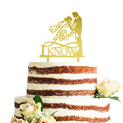 Acrylic I Love You I Know Cake Topper (Gold) -
