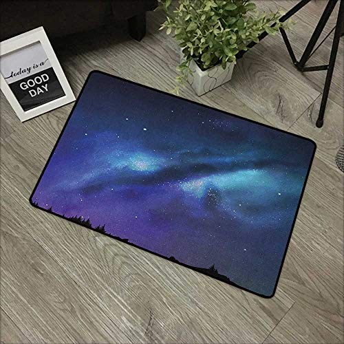 Learning pad W31 x L47 INCH Night,Milky Way Inspired Nebula Cluster Galaxy Fantastic Cosmos Constellation, Aqua Dark Blue Black Our Bottom is Non-Slip and Will not let The Baby Slip,Door Mat Carpet