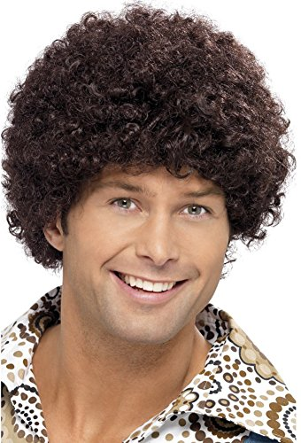 Smiffys Men's 70's Short Brown Afro, One size,  Disco Dude Wig, 5020570420157 -