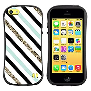 Paccase / Suave TPU GEL Caso Carcasa de Protección Funda para - Teal Black White Diagonal Lines - Apple Iphone 5C