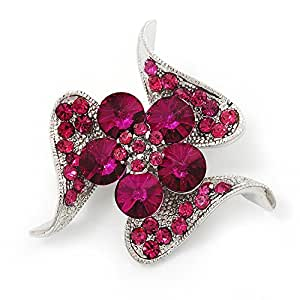 Broche reluciente color Fucsia con cristales