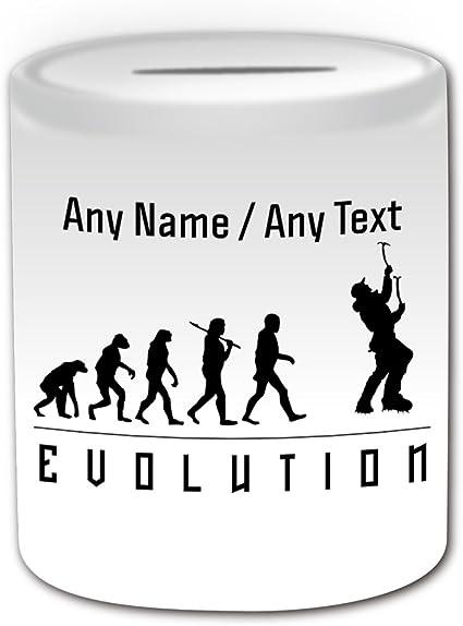 Regalo personalizado - Hucha de escalada en roca (diseño de volución), color blanco, cualquier mensaje de nombre en único, contorno de jugador de ...