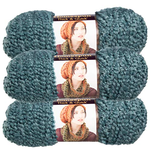 Lion Brand (3 Pack) Homespun Thick & Quick Acrylic & Polyester Soft Tourmaline Green Teal Yarn for Knitting Crocheting Super Bulky #6 (Yarn Lion Boucle)