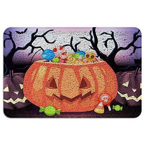 Happy Halloween Door Mat Outdoor Indoor Entrance Doormat PVC Bath Mat Entrance Floor Rug Anti-Slip Welcome Mats 18x30 inch Pumpkin Filled with Candy Cartoon -