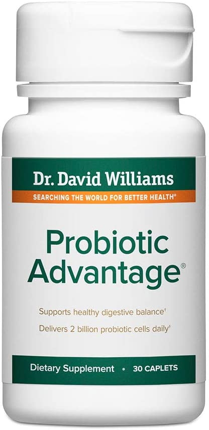 Dr. David Williams' Probiotic Advantage Supplement with 7 Unique Strains and Patented Technology to Deliver Probiotics Alive (30 Caplets)