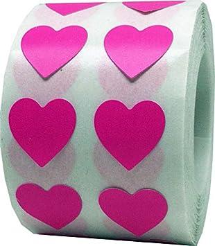 13 mm 1//2 Pouce de Large Rose Chaud Coeur Autocollants 1000 /Étiquettes sur un Rouleau