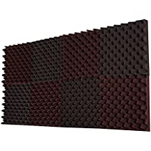 "8 Pack- Charcoal / Burgundy Acoustic Panels Studio Foam Convoluted 2.5"" X 12"" X 12"" Sound Tiles ""Egg Crate"""