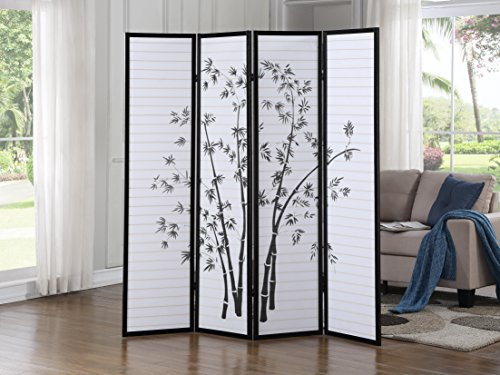 Roundhill RD043BK Bamboo Print 4-Panel Framed Room Screen/Divider Black