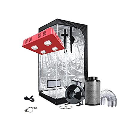 "Oppolite LED Grow Light Tent Complete Kit Hydroponic Growing System LED800W COB Grow Light+4""/6""Fan Filter Combo+24""x24""x48""32""x32""x63""48""x48""x80""Indoor Tent"