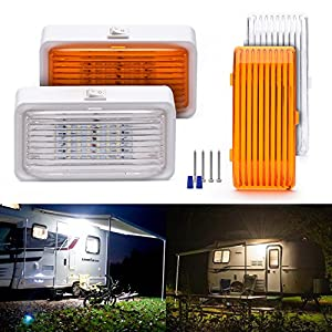 MICTUNING RV Exterior Porch Utility LED Light, 12V Replacement Lighting for RVs, Trailers, Campers with Clear and Amber Lenses (Pack of 2)