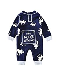 iceko Unisex Baby Boy Girl Romper Deer Printed Long Sleeve Jumpsuit Playsuit Outfits