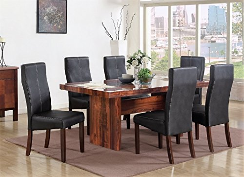 Mega Furnishing Home Kitchen Italian style modern dining table with aristocratic leather bar chair