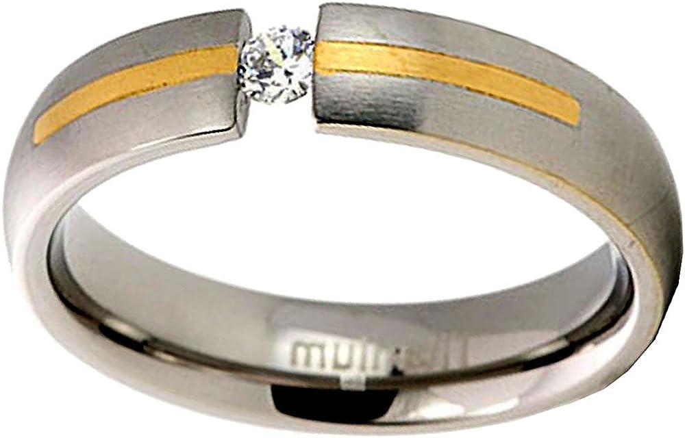 5mm Men Titanium Wedding Band Gold Plated Strip Cubic Zirconia Round Satin Polish Solitaire Size 9-12 SPJ