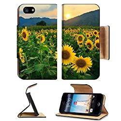 Landscapes Nature Sunflowers Sunset Scenery Apple iPhone 5 / 5S Flip Cover Case with Card Holder