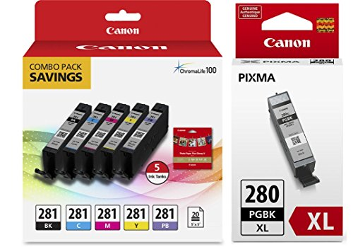 Genuine Canon CLI-281 5-Color Ink Tank Combo Pack with 5 x 5'' Photo Paper (2091C006) + Canon PGI-280 XL Pigment Black Ink Tank (2021C001) by Canon