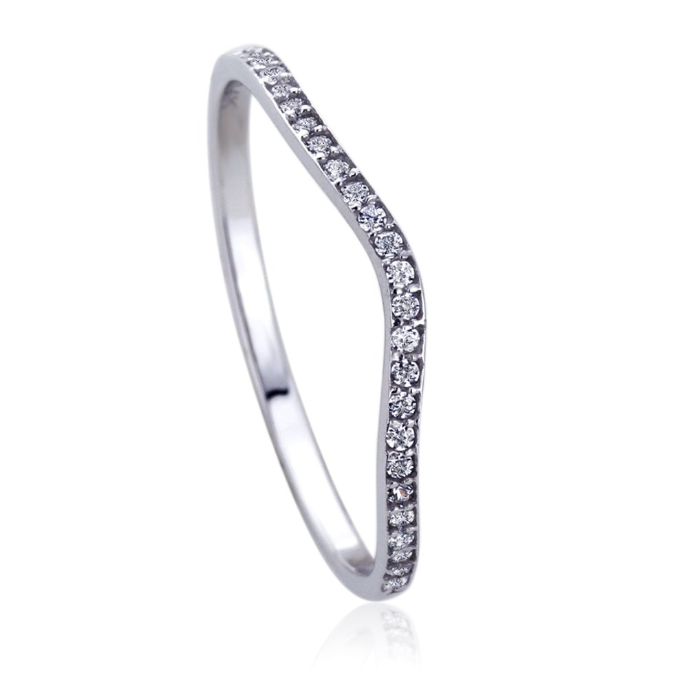 14K White Gold Round CZ Curved Tracer Wedding Anniversary Ring, 6
